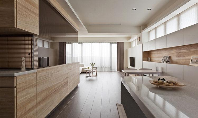 кухня со шпонированным фасадом