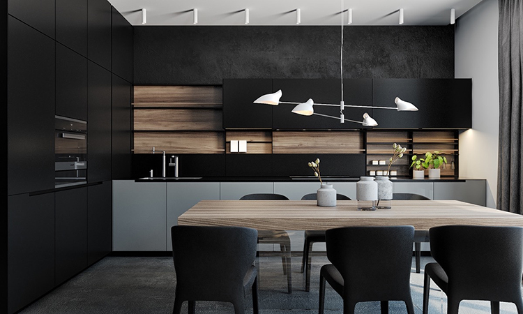 кухня с чёрными фасадами